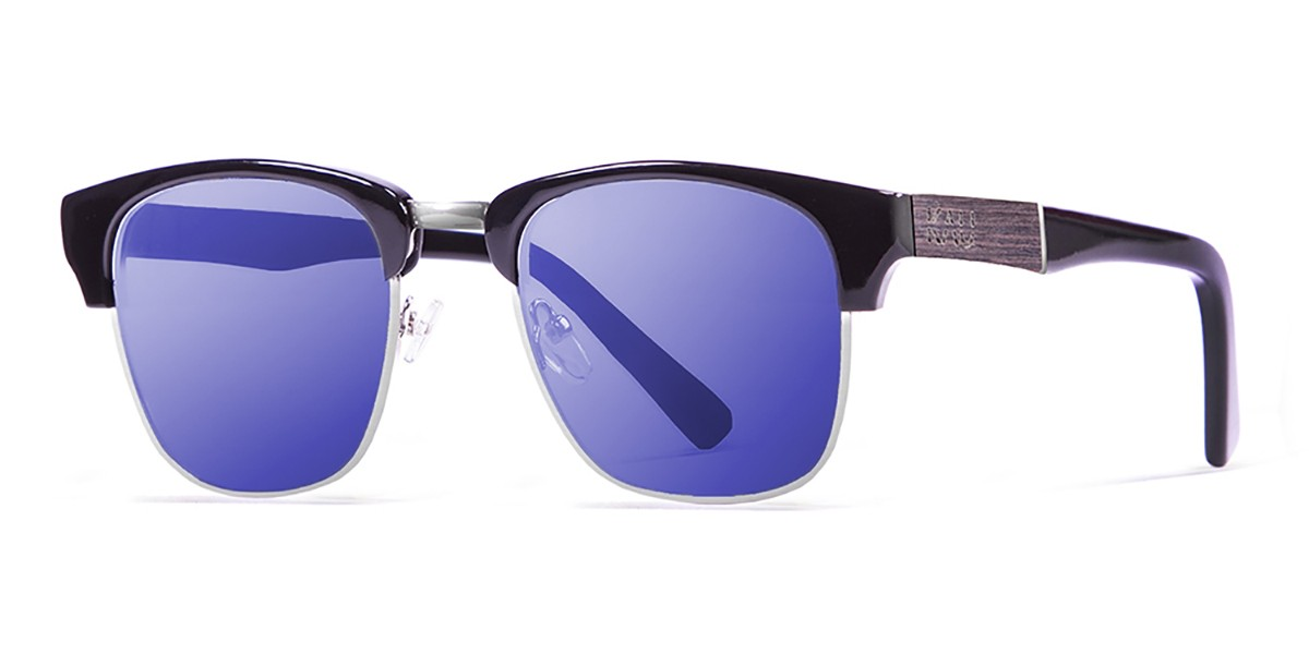 SHANGAY SHINY BLACK REVO BLUE LENS