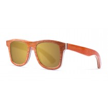 Miami orange skate wood polarized sunglasses front