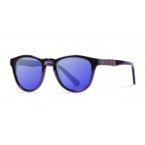 Florencia shiny black revo blue lens polarized sunglasses front