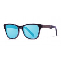LONDON SHINY BLACK REVO BLUE LENS WITH EBONY